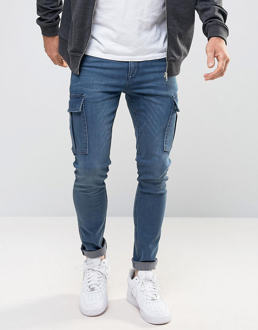ASOS Super Skinny Jeans With Cargo Details In Smokey Blue - Dark blue