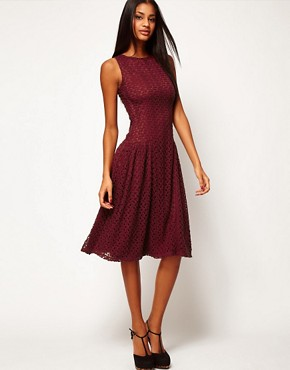 Image 1 ofASOS Midi Dress In Crochet Lace