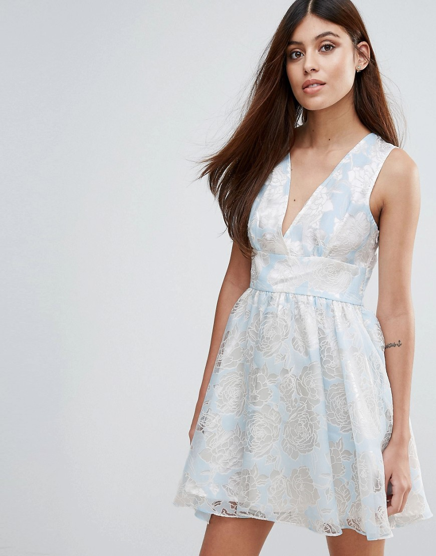 Product photo of Zibi london flocked print organza dress blue