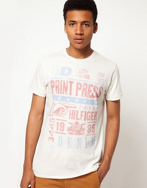 Image 1 ofHilfiger Denim T-Shirt with Vintage Press Print