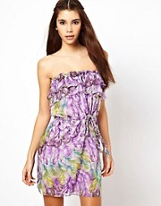 Traffic People Silk Dress In Feather Print