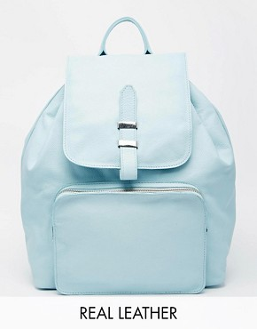 ASOS Leather Backpack with Front Zip Pocket
