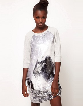 Image 1 ofLulu and Co Studio Sequin Sphynx Sweatshirt Dress