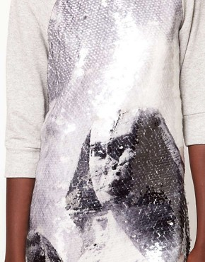 Image 3 ofLulu and Co Studio Sequin Sphynx Sweatshirt Dress