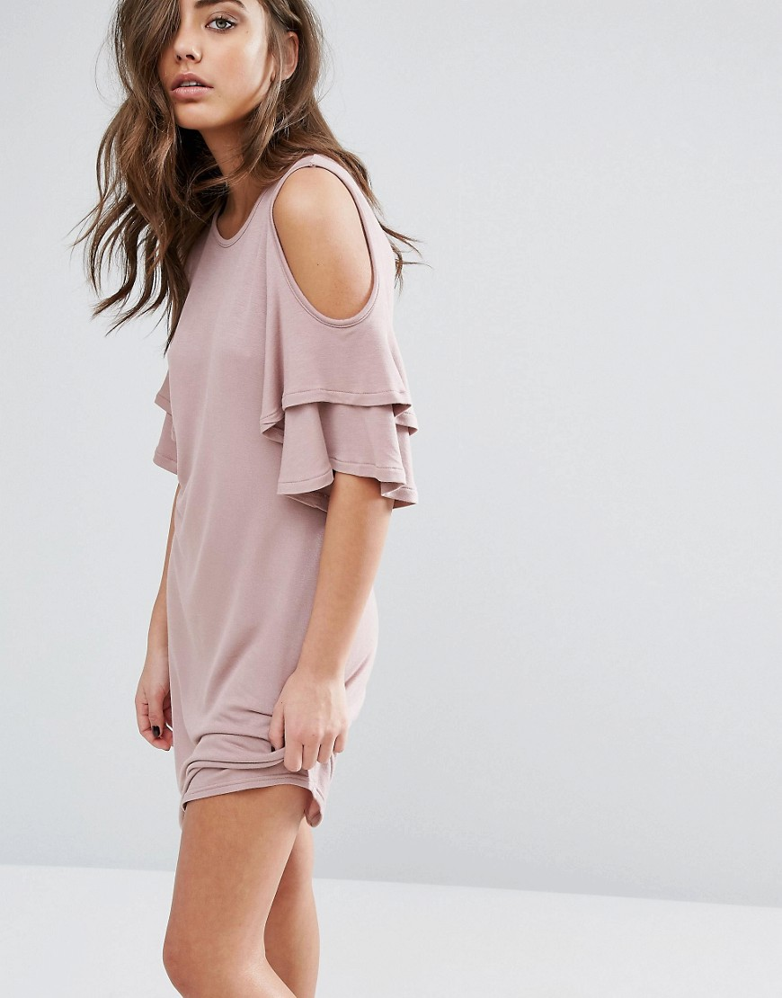 Miss Selfridge Cold Shoulder Ruffle Smock Dress - Pink