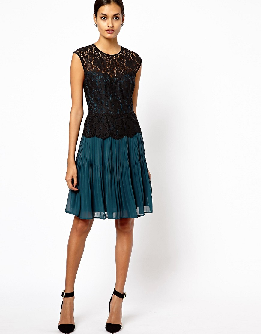 Image 4 of Warehouse Lace Bodice Pleated Dress