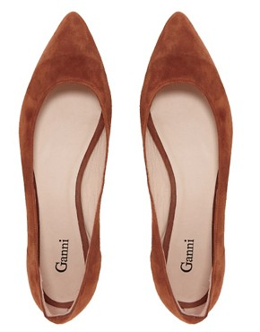 Image 4 ofGanni Ella Pointed Suede Ballet Flats