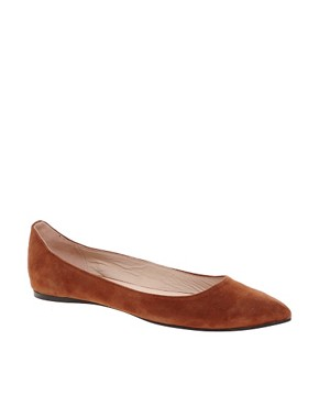 Image 1 ofGanni Ella Pointed Suede Ballet Flats