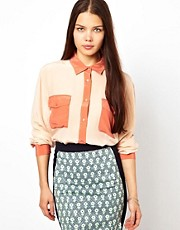 American Retro Colourblock Shirt in Silk