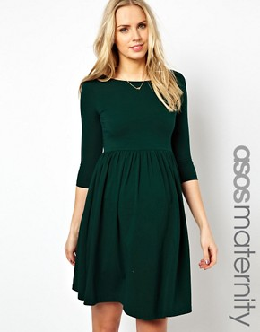 Image 1 ofASOS Maternity Skater Dress With Slash Neck