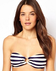 French Connection Sun And Sea Stripe Bandeau Bikini Top