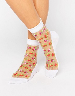 ASOS Floral Sheer Socks With Pique Welt