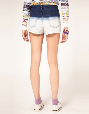 Image 2 ofASOS Dip Dye High Waisted Denim Shorts