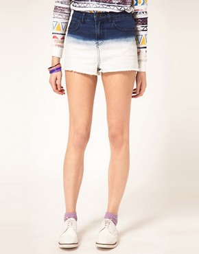 Image 4 ofASOS Dip Dye High Waisted Denim Shorts