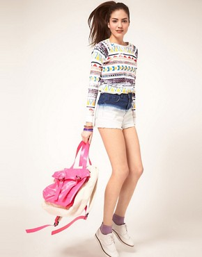 Image 1 ofASOS Dip Dye High Waisted Denim Shorts