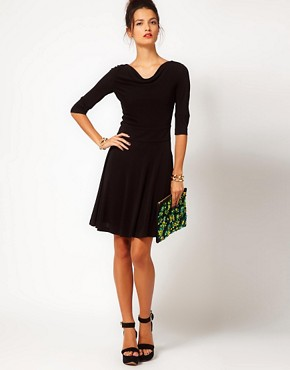 Image 4 ofHalston Heritage Classic Flippy Dress With Cowl Neck