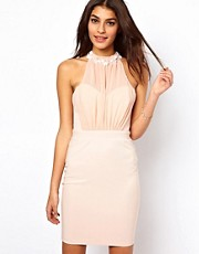 Lipsy Body-Conscious Dress with Embellished Collar
