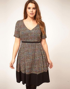 Image 4 ofASOS CURVE Premium Midi Dress In Rainbow Textured Fabric