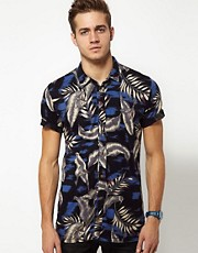 Diesel - T-Denmonza - Camicia hawaiana a maniche corte in jersey