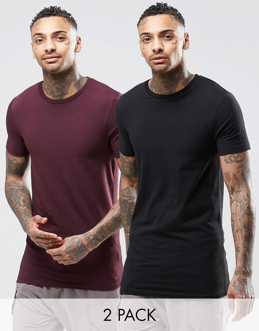 ASOS 2 Pack Longline Muscle T-Shirt In Black/Oxblood - Multi