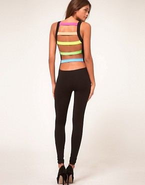 Image 1 ofASOS Unitard with Rave Slash Back Detail