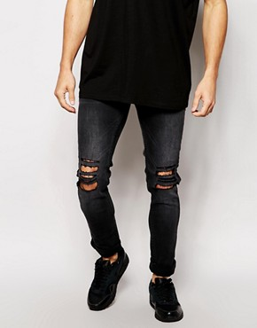 Religion Noize Skinny Fit Washed Black Jeans with Cut Outs