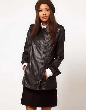 Image 1 ofASOS Longline Leather Jacket