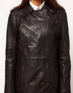 Image 3 ofASOS Longline Leather Jacket