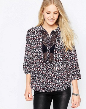 Only Ingrid Panelled Printed Blouse