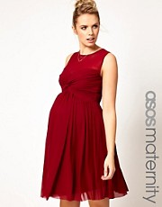 ASOS Maternity  Kleid mit Netzstoffeinsatz und Knotendesign vorne