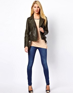 Image 4 ofOasis Rae Leather Biker Jacket