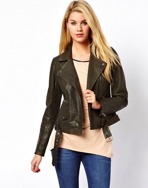 Image 1 ofOasis Rae Leather Biker Jacket