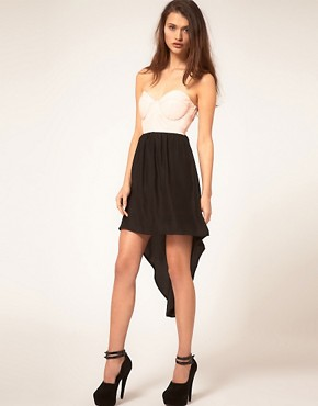 Image 4 ofReverse Dress with PVC Bustier and Hi Low Hem