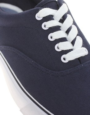 Image 2 of ASOS Canvas Sneakers With Chambray Heel
