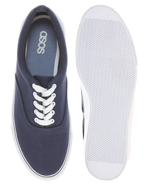 Image 3 of ASOS Canvas Sneakers With Chambray Heel