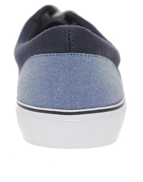 Image 4 of ASOS Canvas Sneakers With Chambray Heel