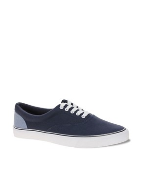 Image 1 of ASOS Canvas Sneakers With Chambray Heel