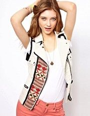 Maison Scotch Tribal Panelled Sleeveless Biker Jacket