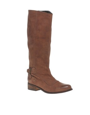 Image 2 ofASOS KATE Leather Long Leg Zip Buckle Pull On Boot
