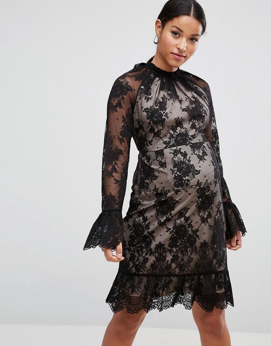 ASOS Maternity High Neck Open Back Lace Mini Dress - Black