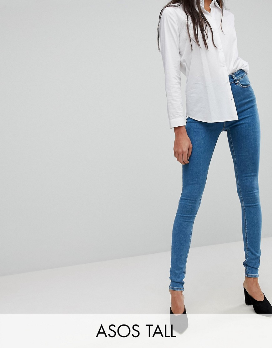 ASOS TALL RIDLEY Skinny Jean In Lily Pretty Mid Wash Blue - Blue
