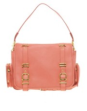 Ri2K Leather Double Buckle Shoulder Bag