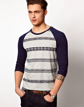 Image 1 ofASOS 3/4 Sleeve T-Shirt With Aztec Stripe and Contrast Sleeves
