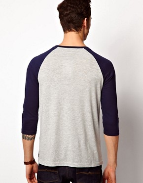 Image 2 ofASOS 3/4 Sleeve T-Shirt With Aztec Stripe and Contrast Sleeves