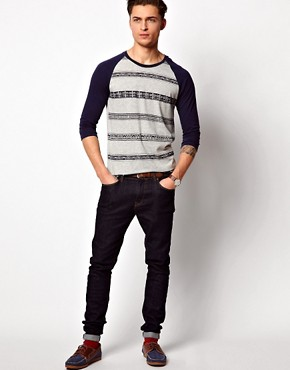 Image 4 ofASOS 3/4 Sleeve T-Shirt With Aztec Stripe and Contrast Sleeves