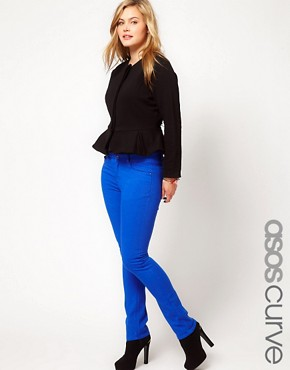Image 1 ofASOS CURVE Exclusive Skinny In Dazzling Blue #4