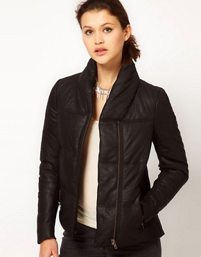 Image 1 ofMuubaa Leather Elymere Padded Jacket