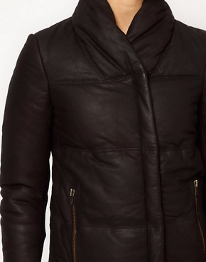 Image 3 ofMuubaa Leather Elymere Padded Jacket