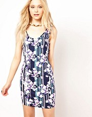 River Island Floral Print Bodycon Vest Dress