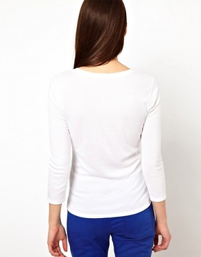 Image 2 ofWhistles Pima Scoop Neck Long Sleeve T-Shirt